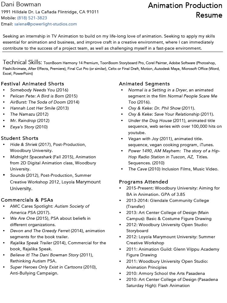 online resume dani bowman